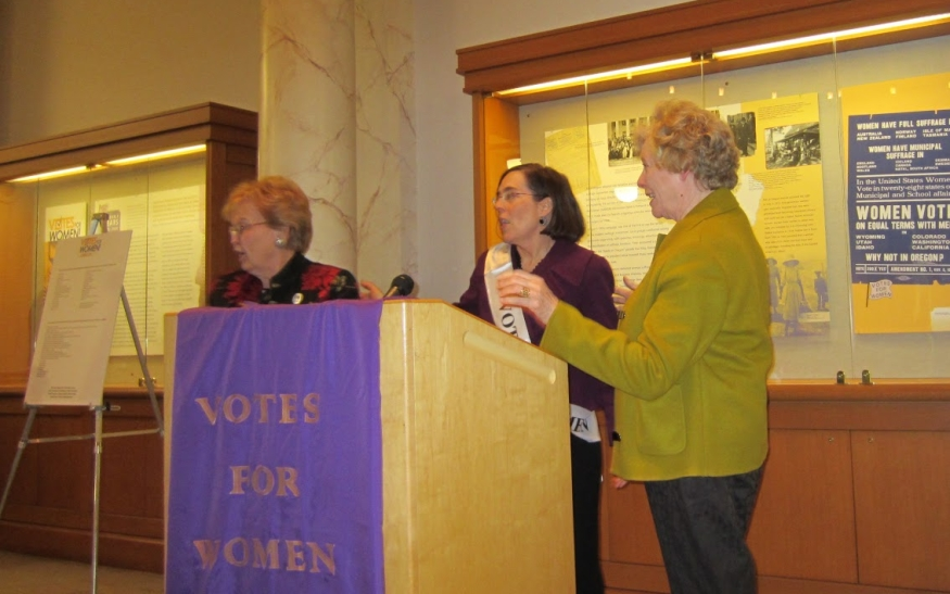 Votes for Women: The Oregon Story exhibit opening, Collins Gallery, Multnomah County Library, February 1, 2012.